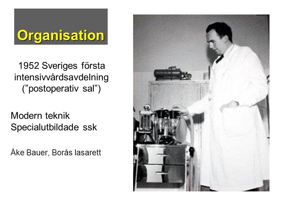 """Organisation 1952 Sveriges första intensivvårdsavdelning (""""postoperativ sal"""") Modern teknik Specialutbildade ssk Åke Bauer, Borås lasarett"""