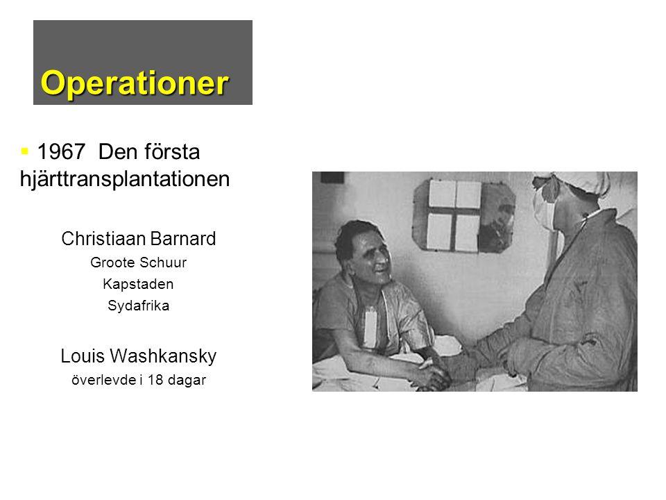 Operationer  1967 Den första hjärttransplantationen Christiaan Barnard Groote Schuur Kapstaden Sydafrika Louis Washkansky överlevde i 18 dagar