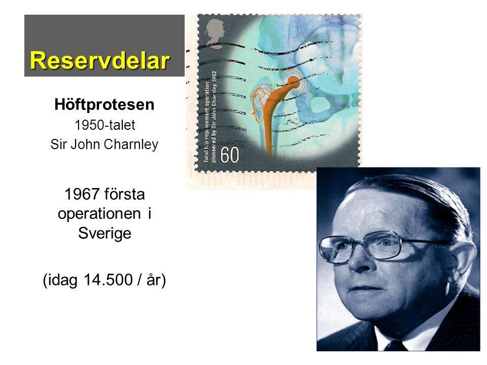 Reservdelar Höftprotesen 1950-talet Sir John Charnley 1967 första operationen i Sverige (idag 14.500 / år)