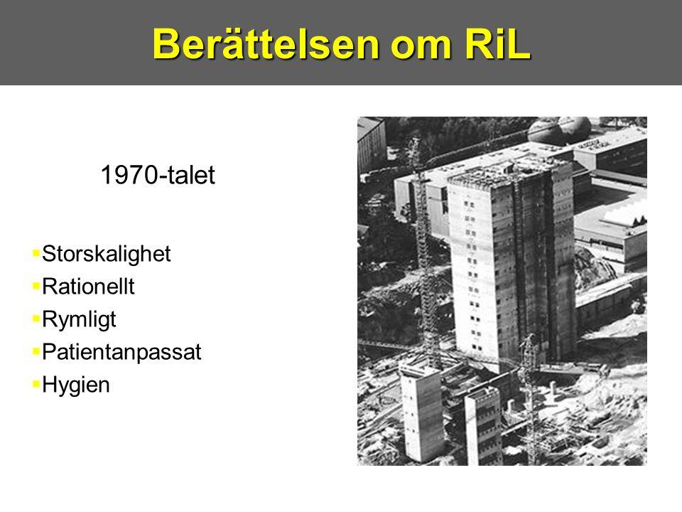 1970-talet  Storskalighet  Rationellt  Rymligt  Patientanpassat  Hygien Berättelsen om RiL