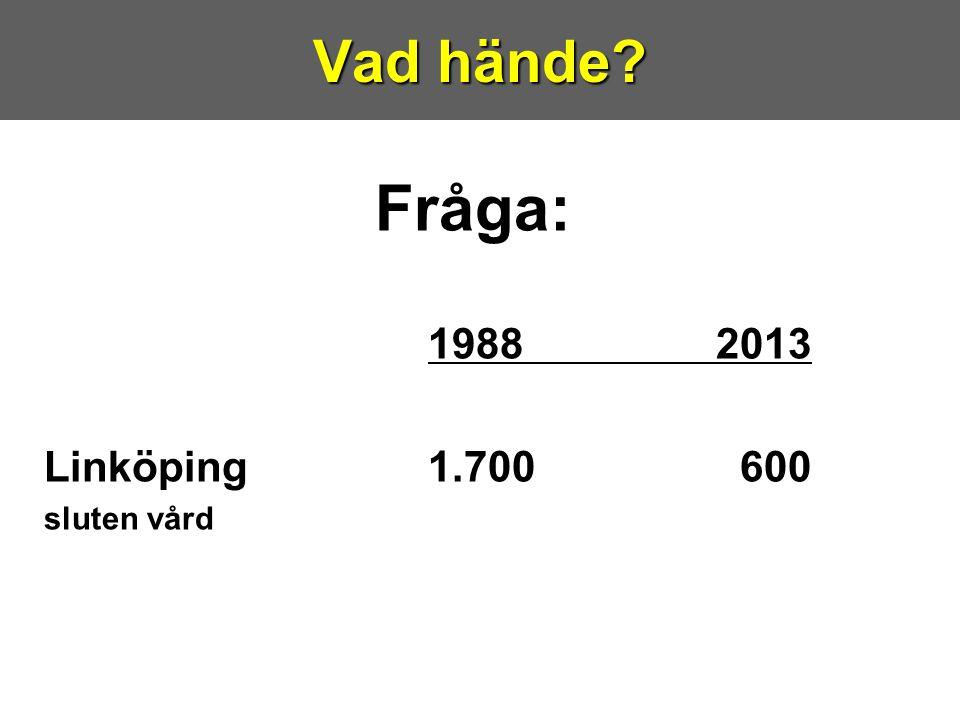 Fråga: 19882013 Linköping1.700 600 sluten vård Vad hände?