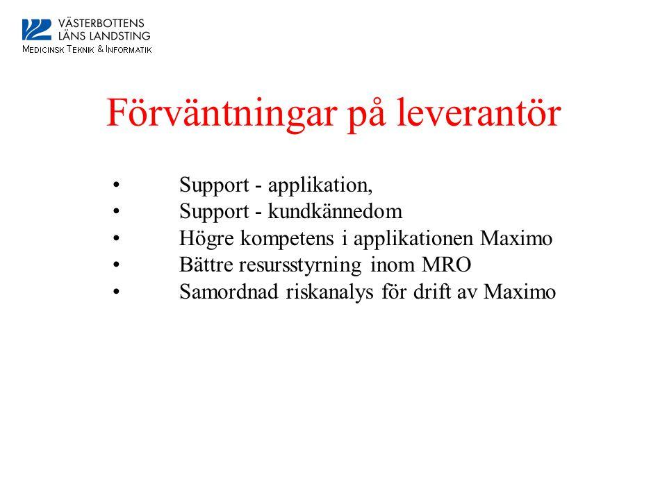 Förväntningar på leverantör • Support - applikation, • Support - kundkännedom • Högre kompetens i applikationen Maximo • Bättre resursstyrning inom MRO • Samordnad riskanalys för drift av Maximo