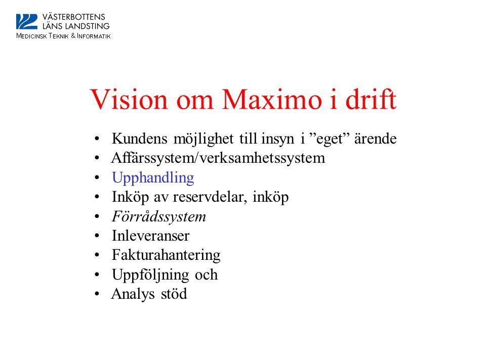 Vision om Maximo i drift • Kundens möjlighet till insyn i eget ärende • Affärssystem/verksamhetssystem • Upphandling • Inköp av reservdelar, inköp • Förrådssystem • Inleveranser • Fakturahantering • Uppföljning och • Analys stöd