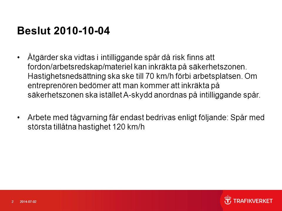 32014-07-02 Beslut 2010-10-04 •Arbete med tågvarning på driftplats får endast bedrivas enligt följande: Grundregel är att arbete med tågvarning inte får bedrivas på driftplatser med mer än 4 tågspår.
