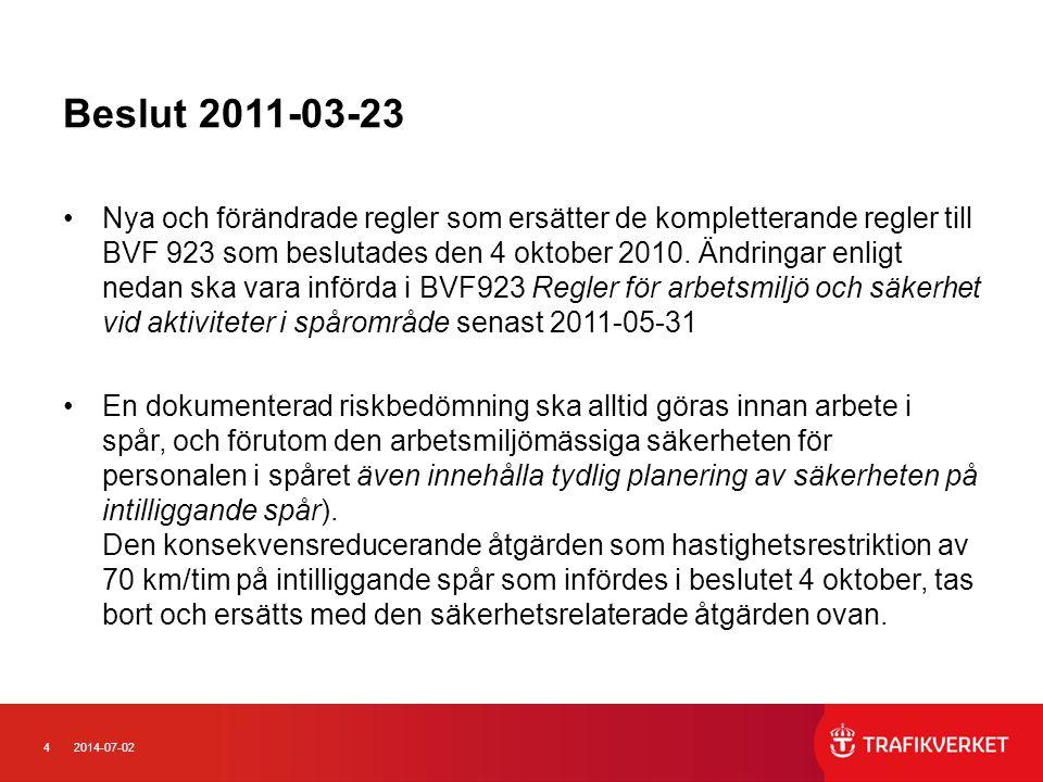 52014-07-02 Beslut 2011-03-23 •Det tillfälliga beslutet vid tågvarning 120 km/tim slopas.