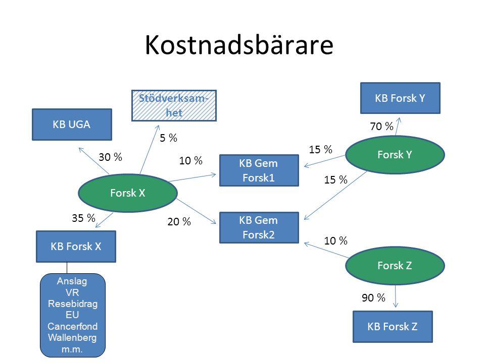 Kostnadsbärare KB Forsk X Forsk X 10 % 30 % 35 % 15 % 70 % Forsk Y Forsk Z KB UGA KB Forsk Y KB Forsk Z KB Gem Forsk1 KB Gem Forsk2 20 % 10 % 90 % Stödverksam- het 5 % Anslag VR Resebidrag EU Cancerfond Wallenberg m.m.