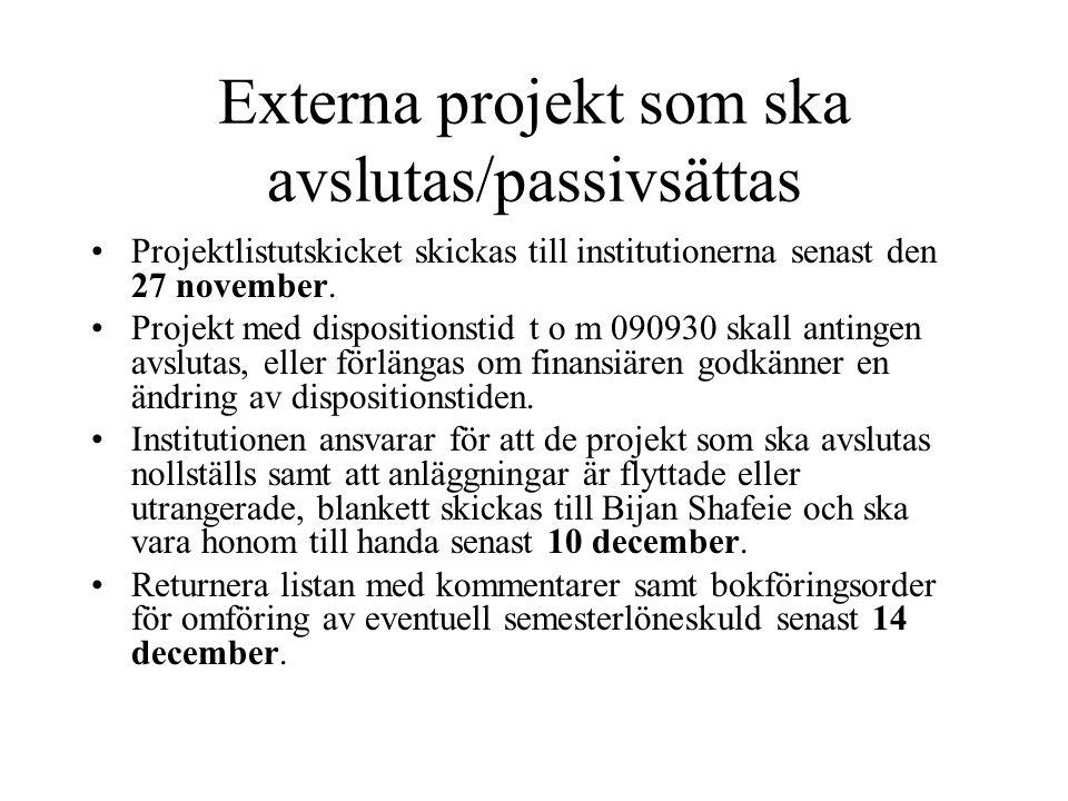 Externa projekt som ska avslutas/passivsättas •Projektlistutskicket skickas till institutionerna senast den 27 november. •Projekt med dispositionstid