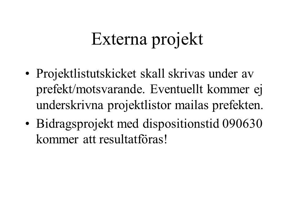 Externa projekt •Projektlistutskicket skall skrivas under av prefekt/motsvarande. Eventuellt kommer ej underskrivna projektlistor mailas prefekten. •B