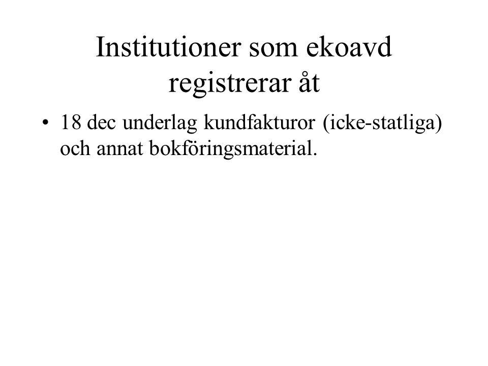 Institutioner som ekoavd registrerar åt •18 dec underlag kundfakturor (icke-statliga) och annat bokföringsmaterial.