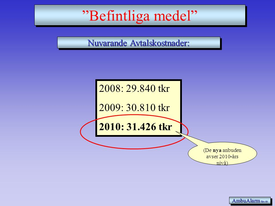 2008: 29.840 tkr 2009: 30.810 tkr 2010: 31.426 tkr Nuvarande Avtalskostnader: AmbuAlarm /BA-08 Befintliga medel (De nya anbuden avser 2010-års nivå)