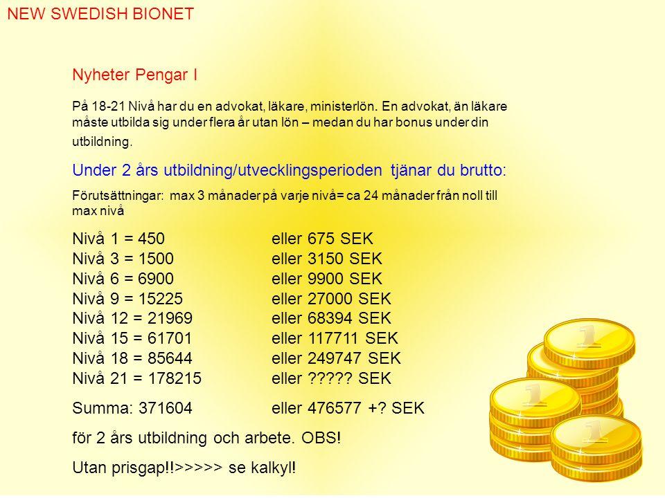 NEW SWEDISH BIONET Nyheter Pengar I På 18-21 Nivå har du en advokat, läkare, ministerlön.