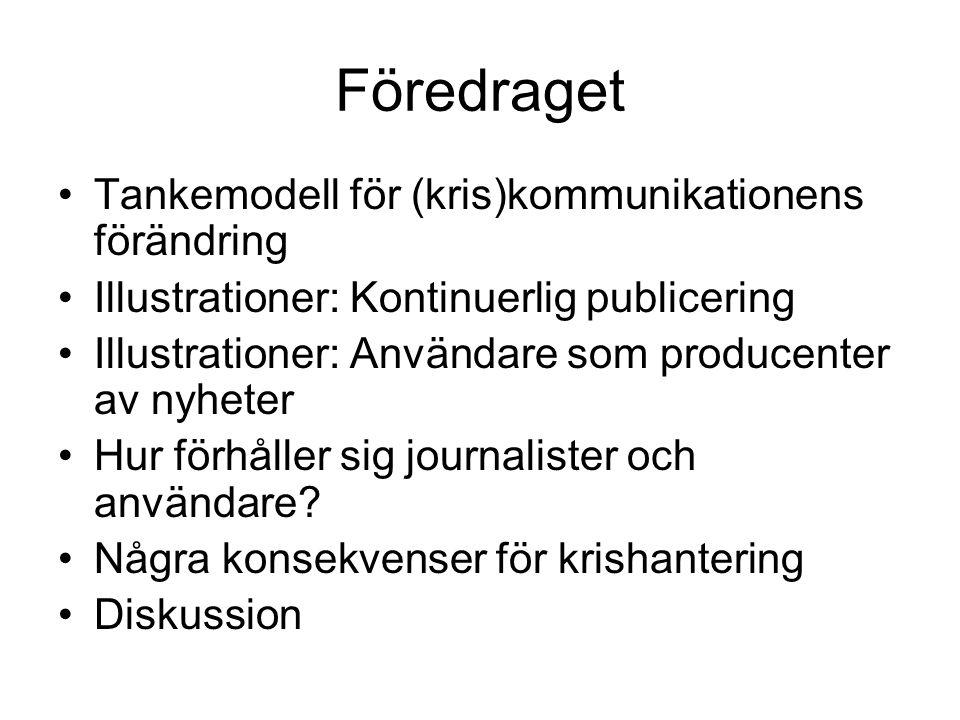 Föredraget •Tankemodell för (kris)kommunikationens förändring •Illustrationer: Kontinuerlig publicering •Illustrationer: Användare som producenter av nyheter •Hur förhåller sig journalister och användare.