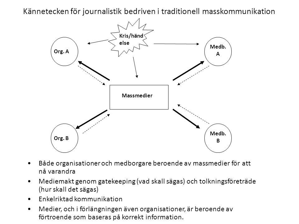 Kännetecken för journalistik bedriven i traditionell masskommunikation •Både organisationer och medborgare beroende av massmedier för att nå varandra