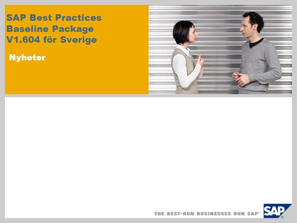 SAP Best Practices Baseline Package V1.604 för Sverige Nyheter