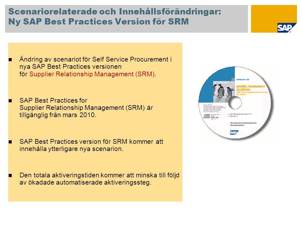 Scenariorelaterade och Innehållsförändringar: Ny SAP Best Practices Version för SRM  Ändring av scenariot för Self Service Procurement i nya SAP Best