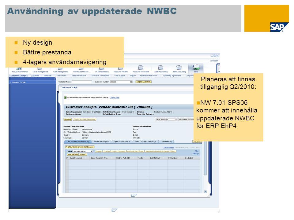 Användning av uppdaterade NWBC  Ny design  Bättre prestanda  4-lagers användarnavigering Planeras att finnas tillgänglig Q2/2010:  NW 7.01 SPS06 k