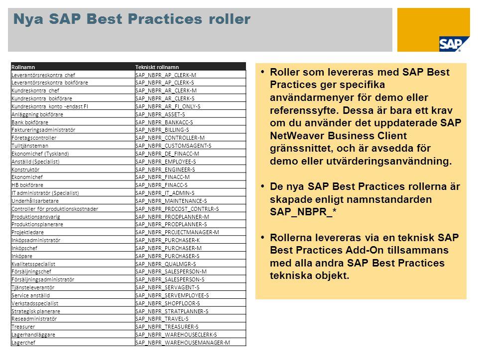 Nya SAP Best Practices roller • Roller som levereras med SAP Best Practices ger specifika användarmenyer för demo eller referenssyfte. Dessa är bara e