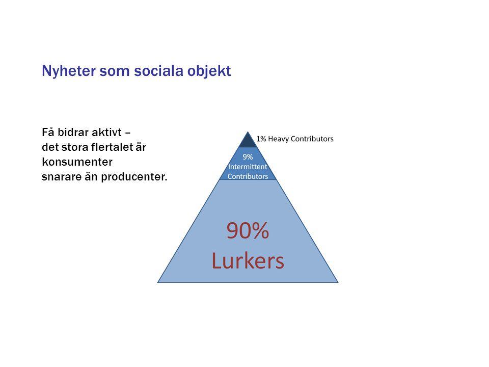 Få bidrar aktivt – det stora flertalet är konsumenter snarare än producenter. Nyheter som sociala objekt