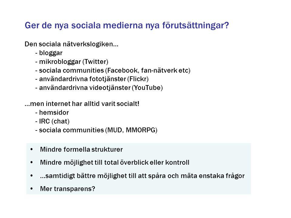 Ger de nya sociala medierna nya förutsättningar? Den sociala nätverkslogiken… - bloggar - mikrobloggar (Twitter) - sociala communities (Facebook, fan-