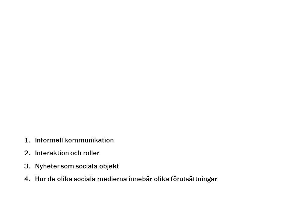 1.Informell kommunikation 2.Interaktion och roller 3.Nyheter som sociala objekt 4.Hur de olika sociala medierna innebär olika förutsättningar