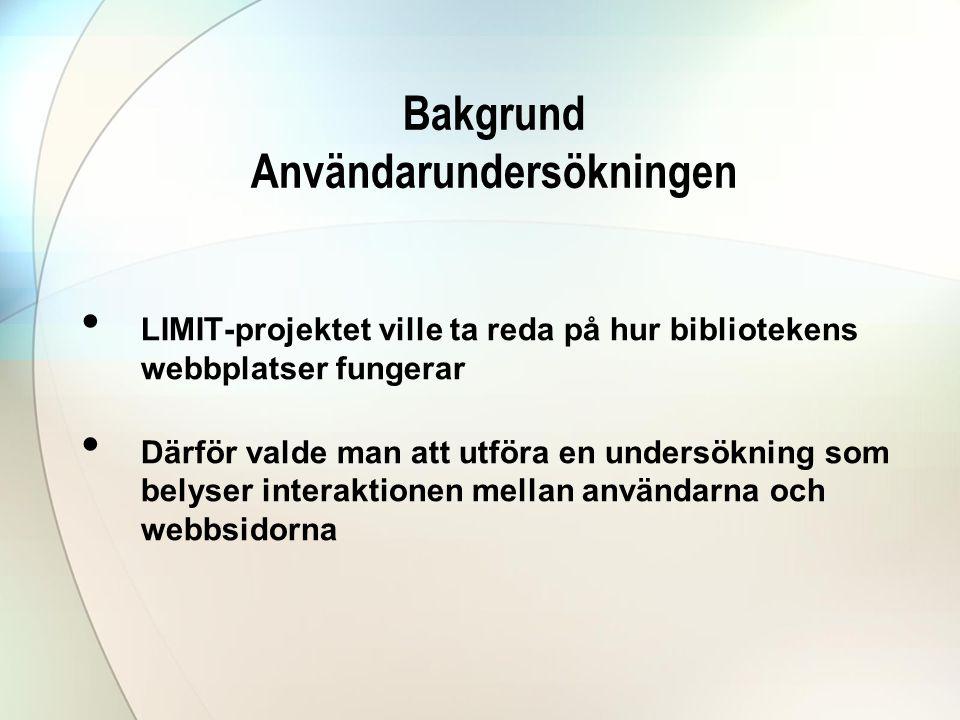 Bakgrund Användarundersökningen • LIMIT-projektet ville ta reda på hur bibliotekens webbplatser fungerar • Därför valde man att utföra en undersökning som belyser interaktionen mellan användarna och webbsidorna