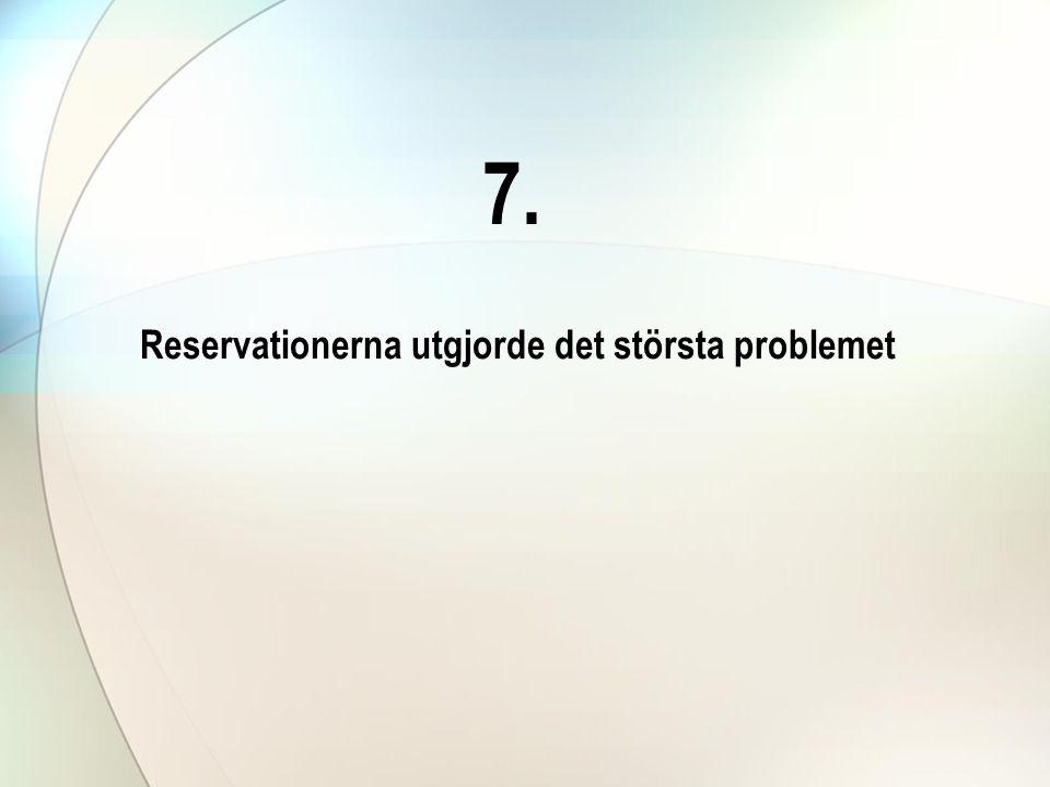 7. Reservationerna utgjorde det största problemet