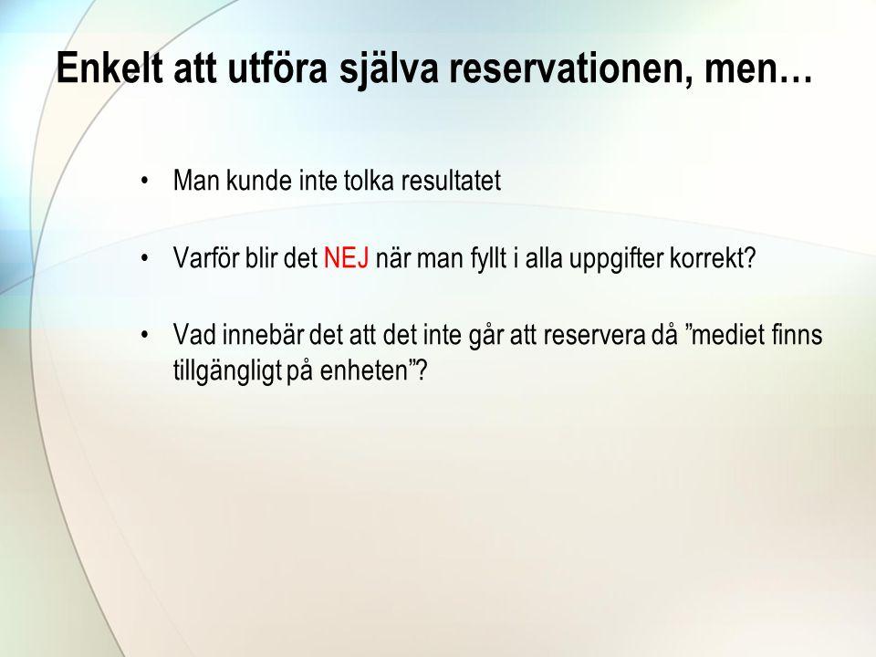 Enkelt att utföra själva reservationen, men… •Man kunde inte tolka resultatet •Varför blir det NEJ när man fyllt i alla uppgifter korrekt.