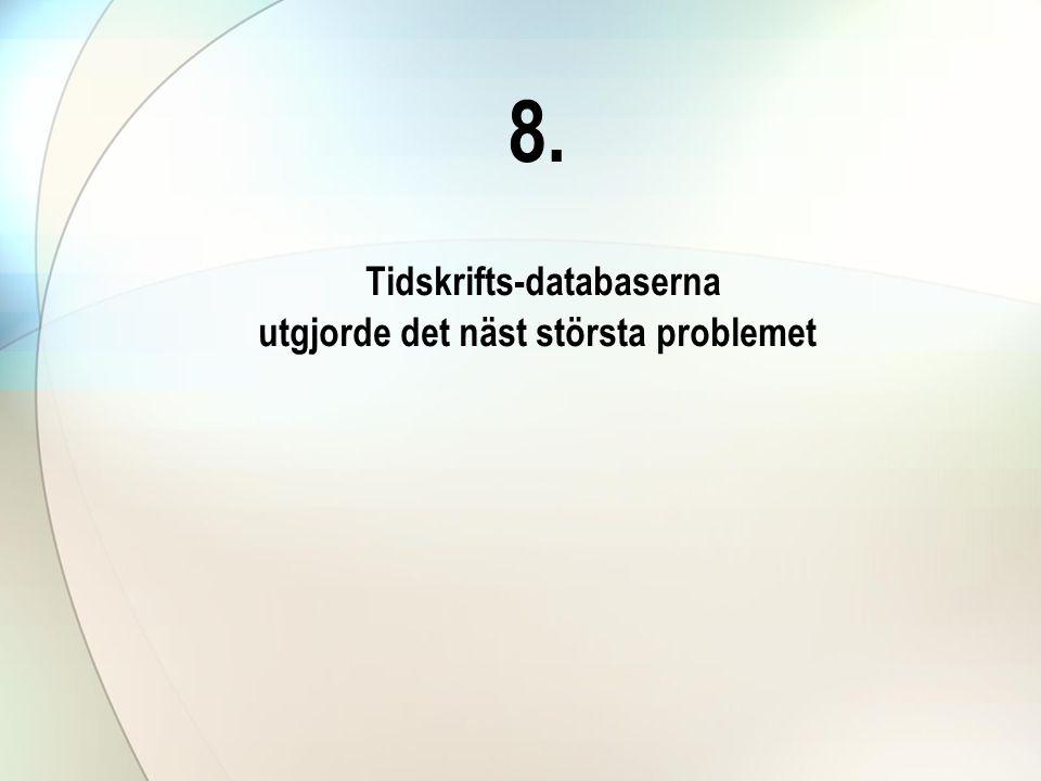 8. Tidskrifts-databaserna utgjorde det näst största problemet