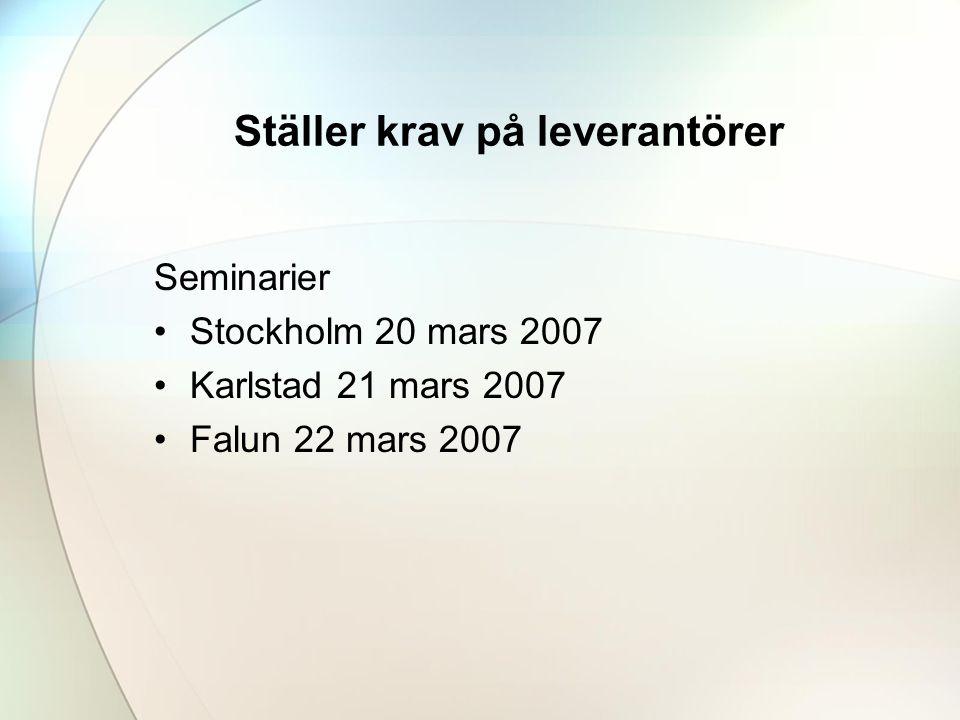 Ställer krav på leverantörer Seminarier •Stockholm 20 mars 2007 •Karlstad 21 mars 2007 •Falun 22 mars 2007