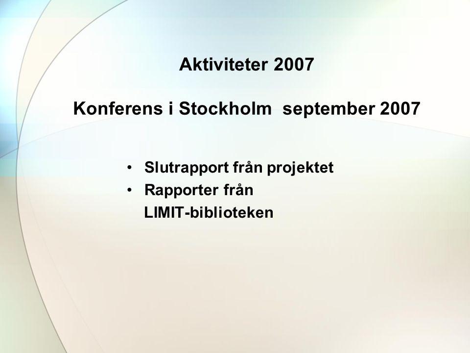 Aktiviteter 2007 Konferens i Stockholm september 2007 •Slutrapport från projektet •Rapporter från LIMIT-biblioteken