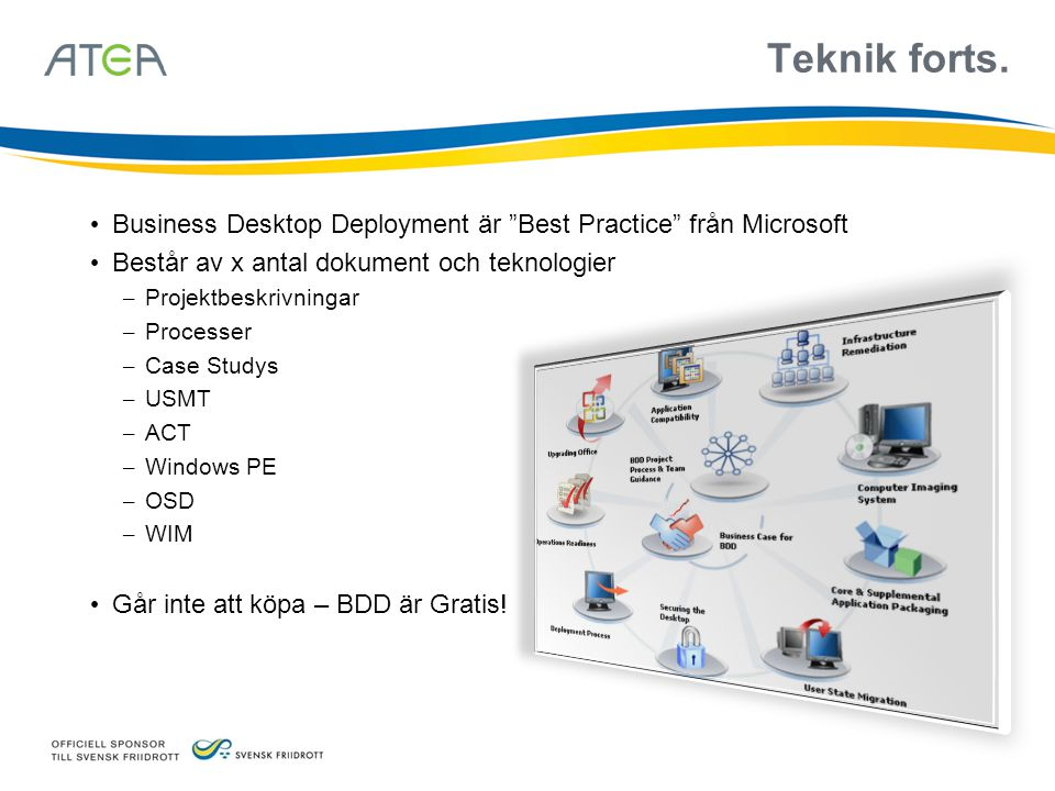 """Teknik forts. • Business Desktop Deployment är """"Best Practice"""" från Microsoft • Består av x antal dokument och teknologier – Projektbeskrivningar – Pr"""