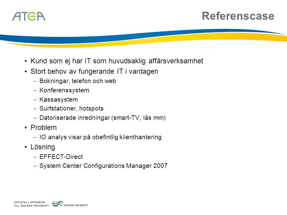 System Center Configurations Manager 2007 • Uppföljaren till Systems Management Server 2003 (SMS 2003) • Tidigare känd som SMSv4 • Ingår i System Center • Inventering • Distribution • Rapportering • Patchning