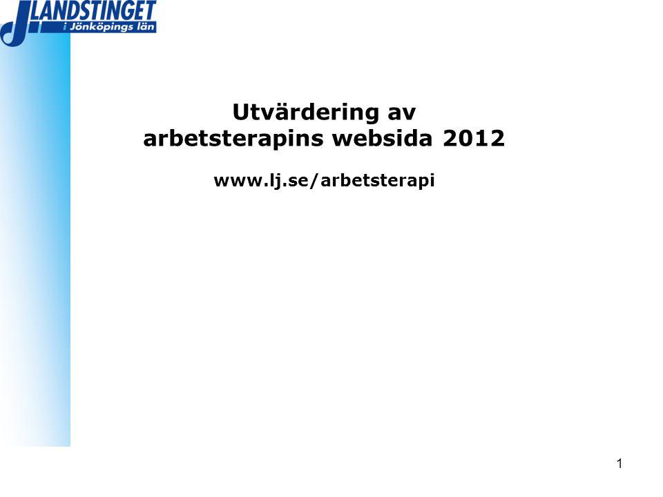 1 Utvärdering av arbetsterapins websida 2012 www.lj.se/arbetsterapi