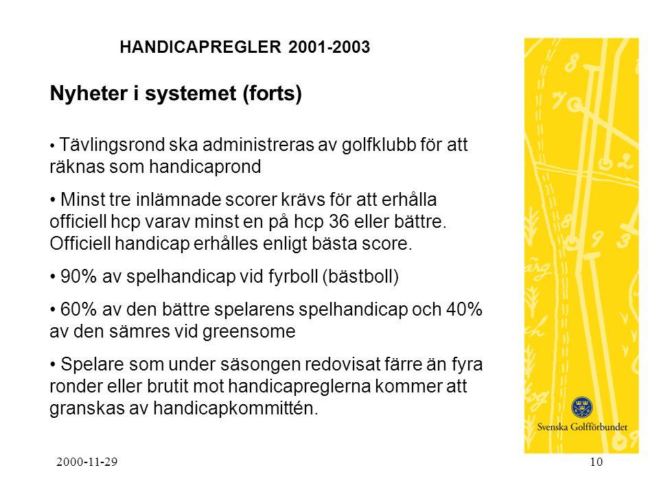 2000-11-2910 HANDICAPREGLER 2001-2003 Nyheter i systemet (forts) • Tävlingsrond ska administreras av golfklubb för att räknas som handicaprond • Minst