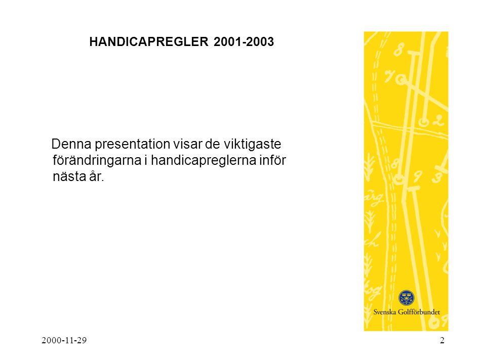 2000-11-292 HANDICAPREGLER 2001-2003 Denna presentation visar de viktigaste förändringarna i handicapreglerna inför nästa år.