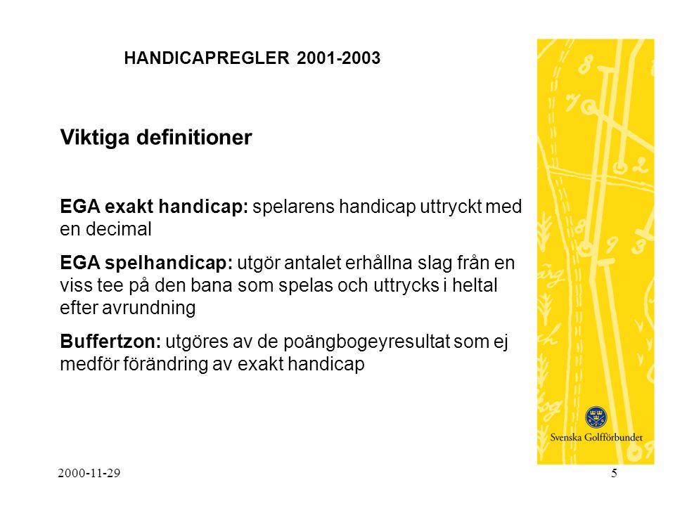 2000-11-296 HANDICAPREGLER 2001-2003 Viktiga definitioner (forts) Handicapgrundande sällskapsrond: en score omräknad till poängbogey, från en rond över 9 (hcp- grupp 4-5) eller 18 hål, som uppfyller kraven för handicaprond.