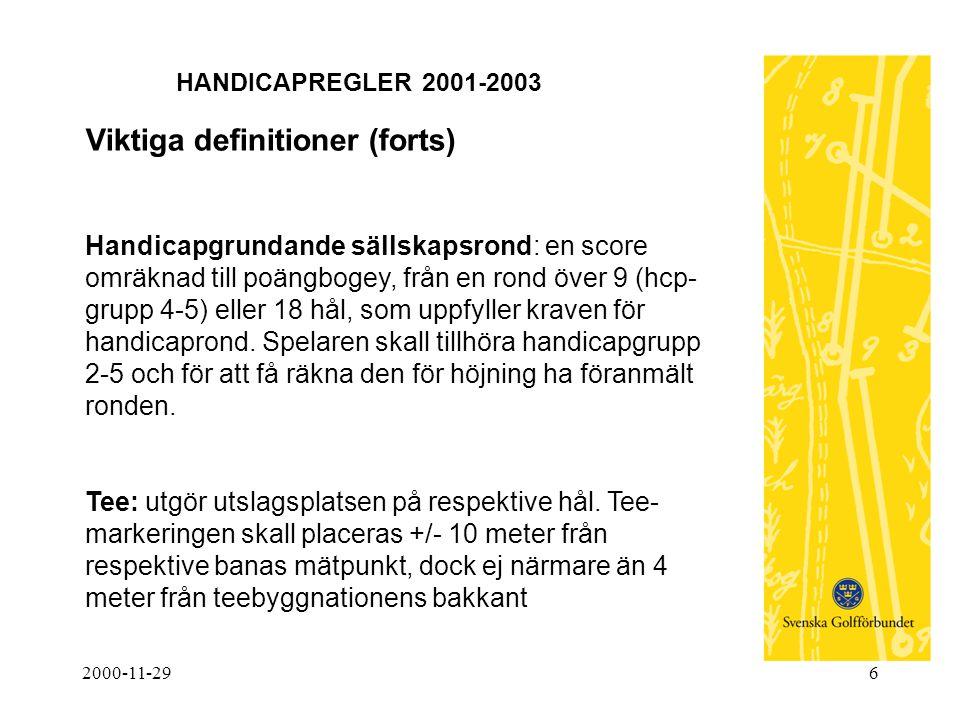 2000-11-296 HANDICAPREGLER 2001-2003 Viktiga definitioner (forts) Handicapgrundande sällskapsrond: en score omräknad till poängbogey, från en rond öve