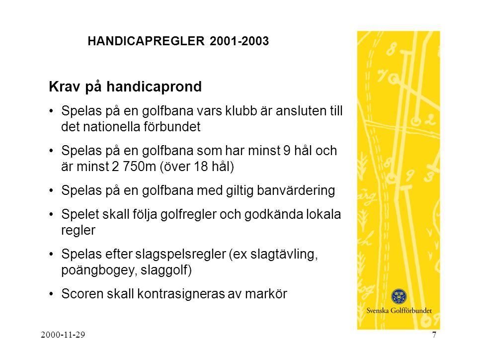 2000-11-297 HANDICAPREGLER 2001-2003 Krav på handicaprond •Spelas på en golfbana vars klubb är ansluten till det nationella förbundet •Spelas på en go