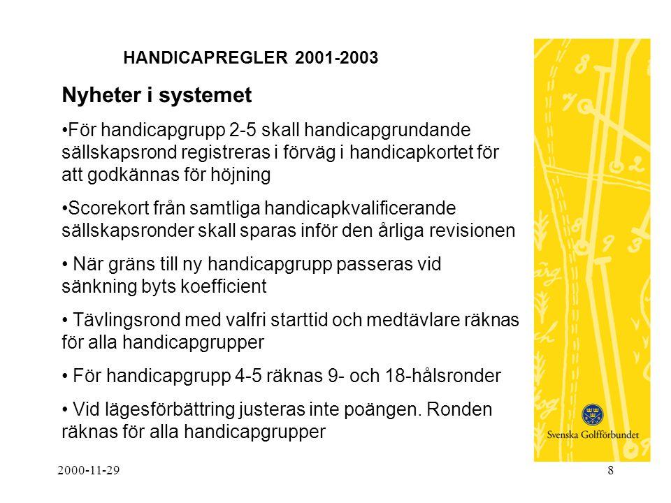 2000-11-298 HANDICAPREGLER 2001-2003 Nyheter i systemet •För handicapgrupp 2-5 skall handicapgrundande sällskapsrond registreras i förväg i handicapko
