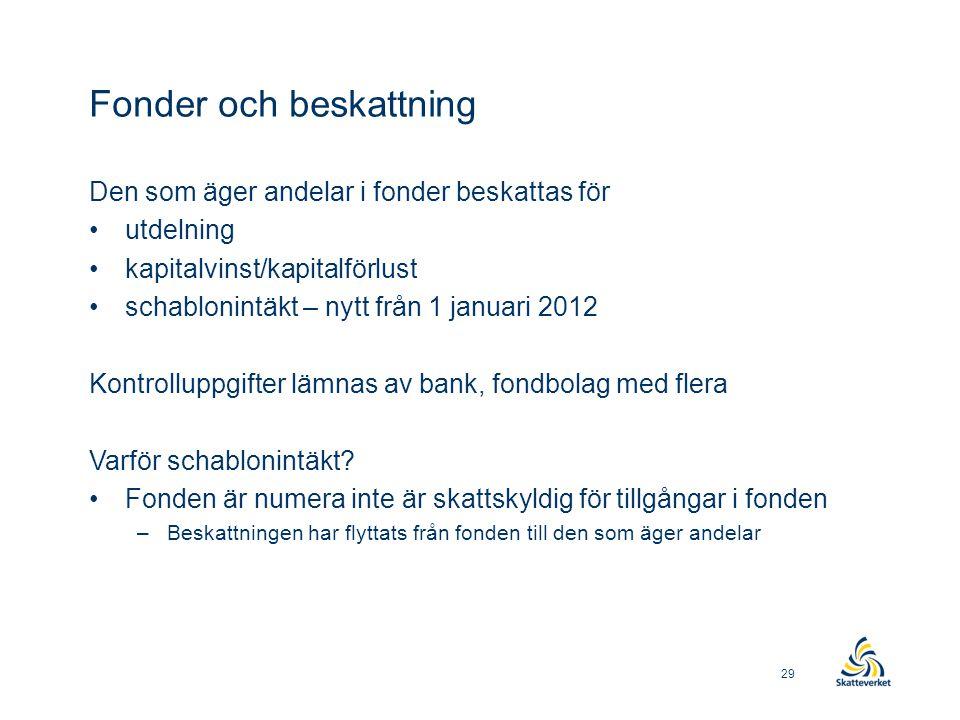 Fonder och beskattning Den som äger andelar i fonder beskattas för •utdelning •kapitalvinst/kapitalförlust •schablonintäkt – nytt från 1 januari 2012