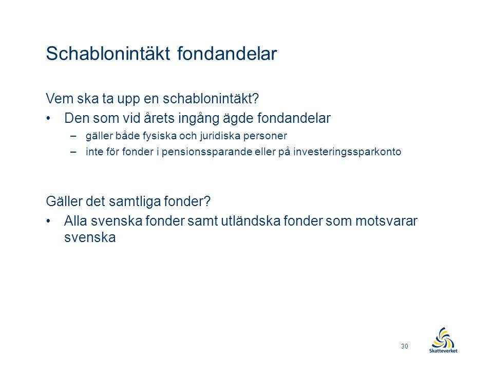 Schablonintäkt fondandelar Vem ska ta upp en schablonintäkt? •Den som vid årets ingång ägde fondandelar –gäller både fysiska och juridiska personer –i