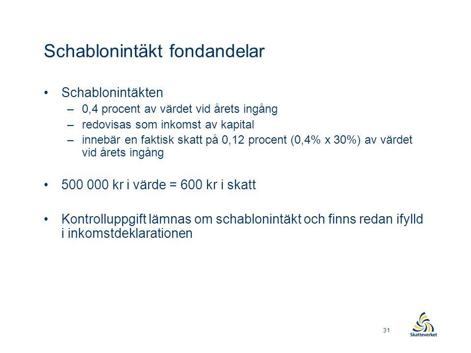 Schablonintäkt fondandelar •Schablonintäkten –0,4 procent av värdet vid årets ingång –redovisas som inkomst av kapital –innebär en faktisk skatt på 0,12 procent (0,4% x 30%) av värdet vid årets ingång •500 000 kr i värde = 600 kr i skatt •Kontrolluppgift lämnas om schablonintäkt och finns redan ifylld i inkomstdeklarationen 31