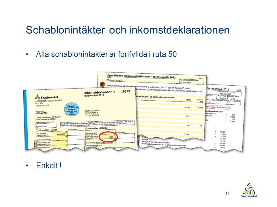 Schablonintäkter och inkomstdeklarationen •Alla schablonintäkter är förifyllda i ruta 50 •Information finns på specifikationen •Enkelt ! 34