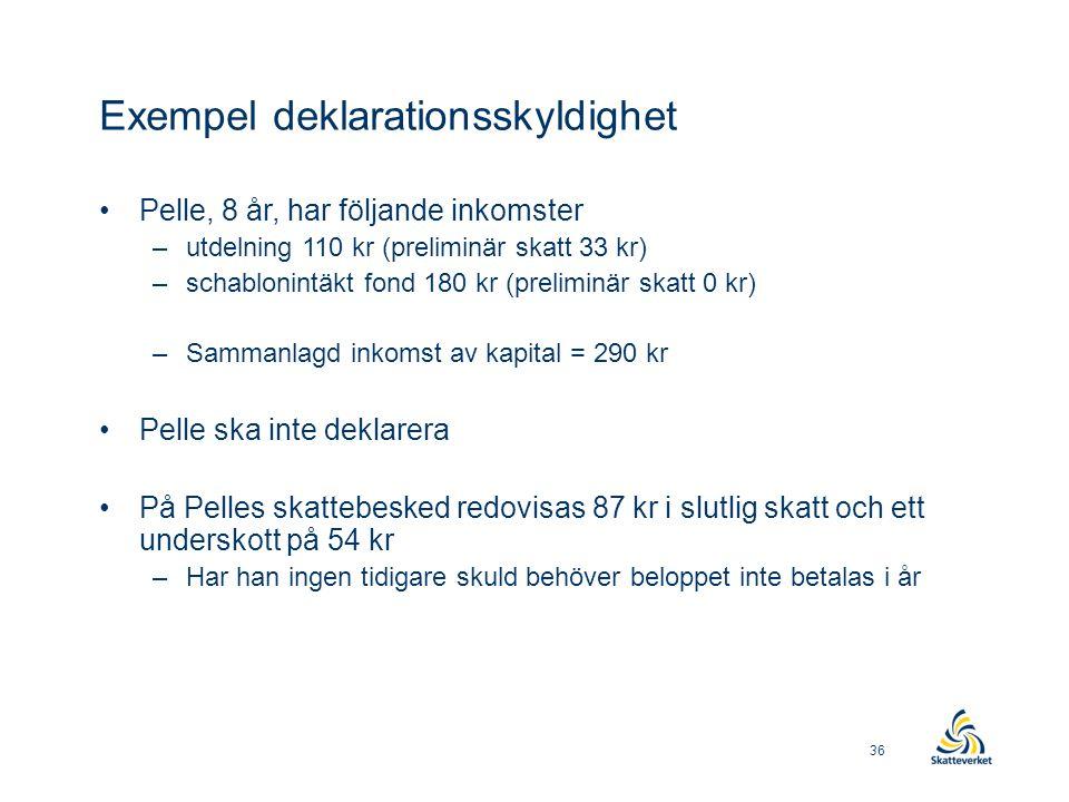 Exempel deklarationsskyldighet •Pelle, 8 år, har följande inkomster –utdelning 110 kr (preliminär skatt 33 kr) –schablonintäkt fond 180 kr (preliminär