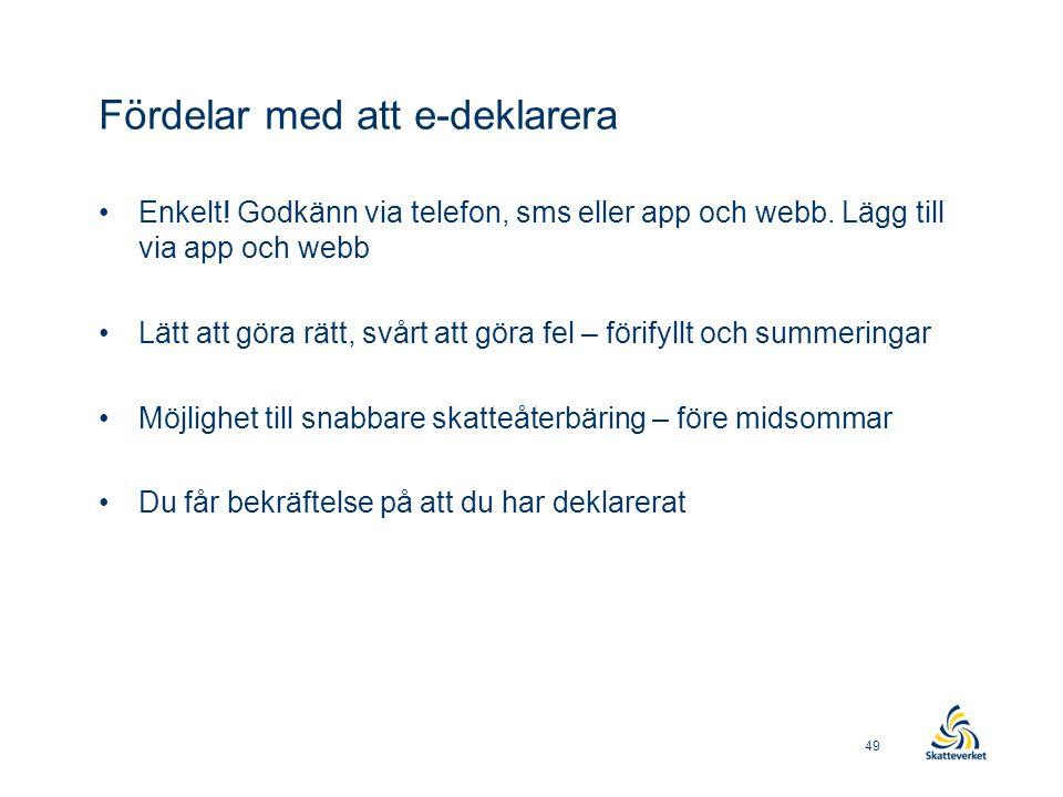 Fördelar med att e-deklarera •Enkelt! Godkänn via telefon, sms eller app och webb. Lägg till via app och webb •Lätt att göra rätt, svårt att göra fel