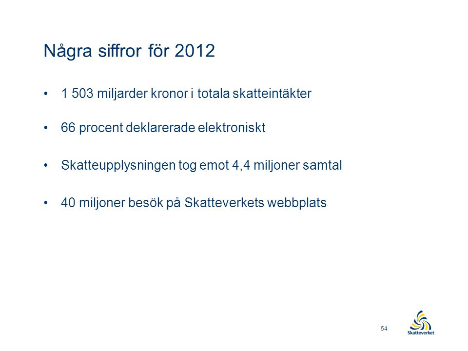Några siffror för 2012 •1 503 miljarder kronor i totala skatteintäkter •66 procent deklarerade elektroniskt •Skatteupplysningen tog emot 4,4 miljoner