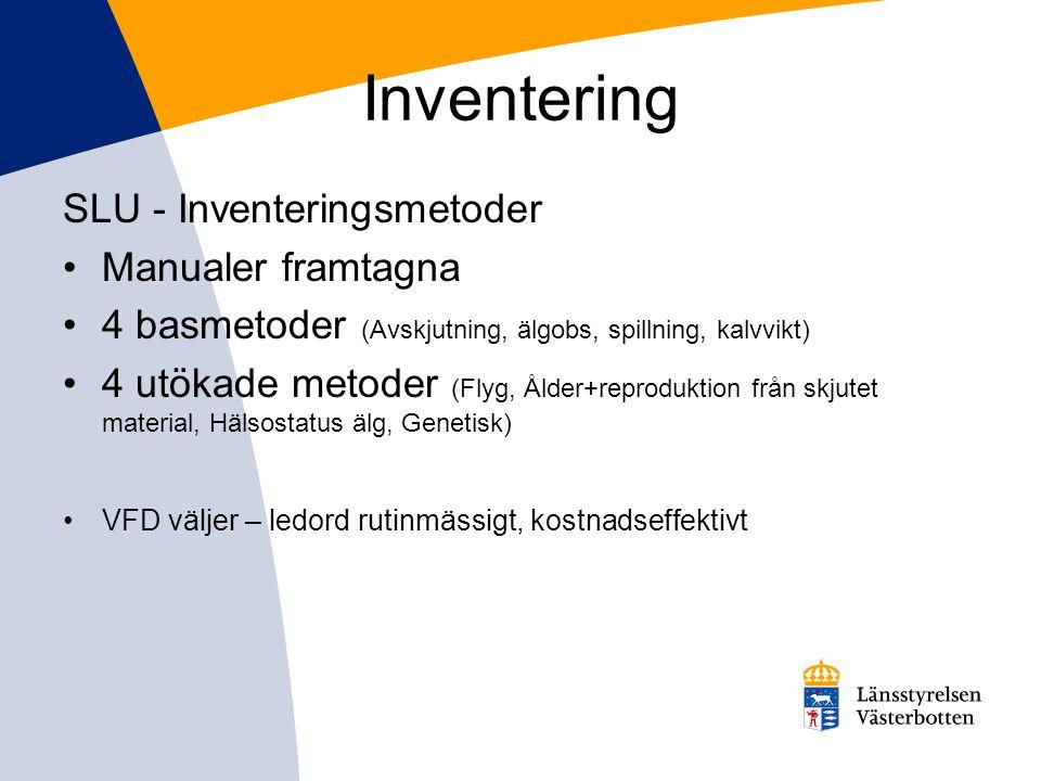 Inventering SLU - Inventeringsmetoder •Manualer framtagna •4 basmetoder (Avskjutning, älgobs, spillning, kalvvikt) •4 utökade metoder (Flyg, Ålder+rep