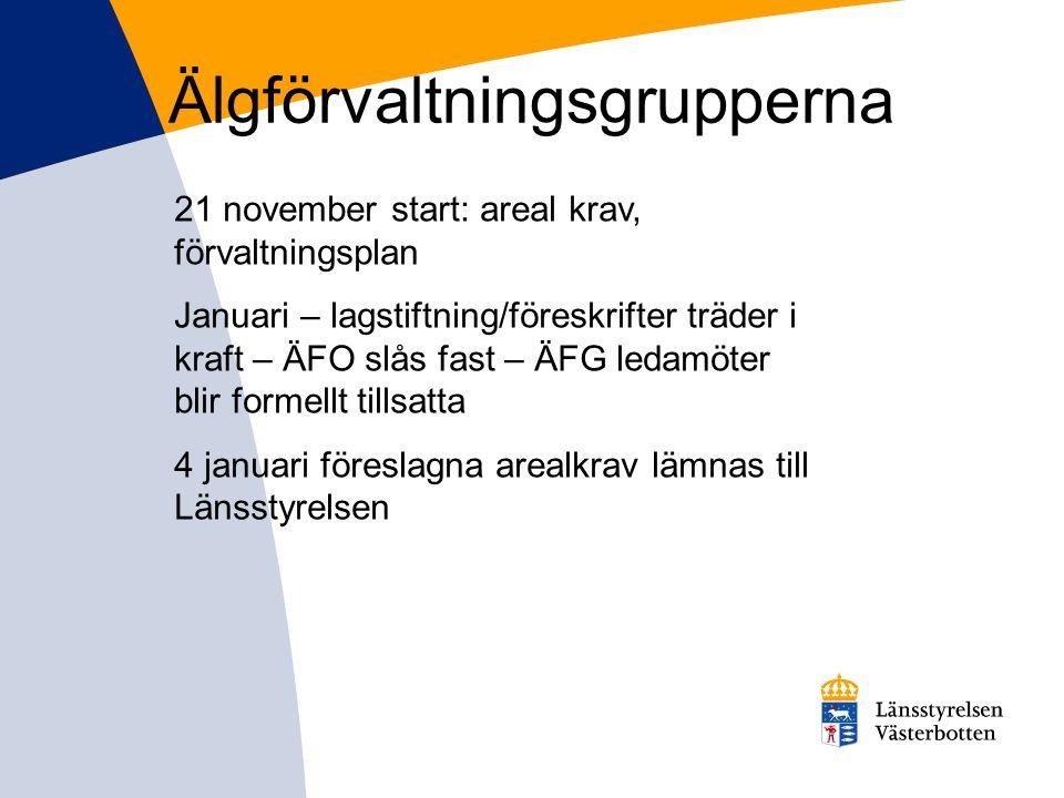 Älgförvaltningsgrupperna 21 november start: areal krav, förvaltningsplan Januari – lagstiftning/föreskrifter träder i kraft – ÄFO slås fast – ÄFG leda