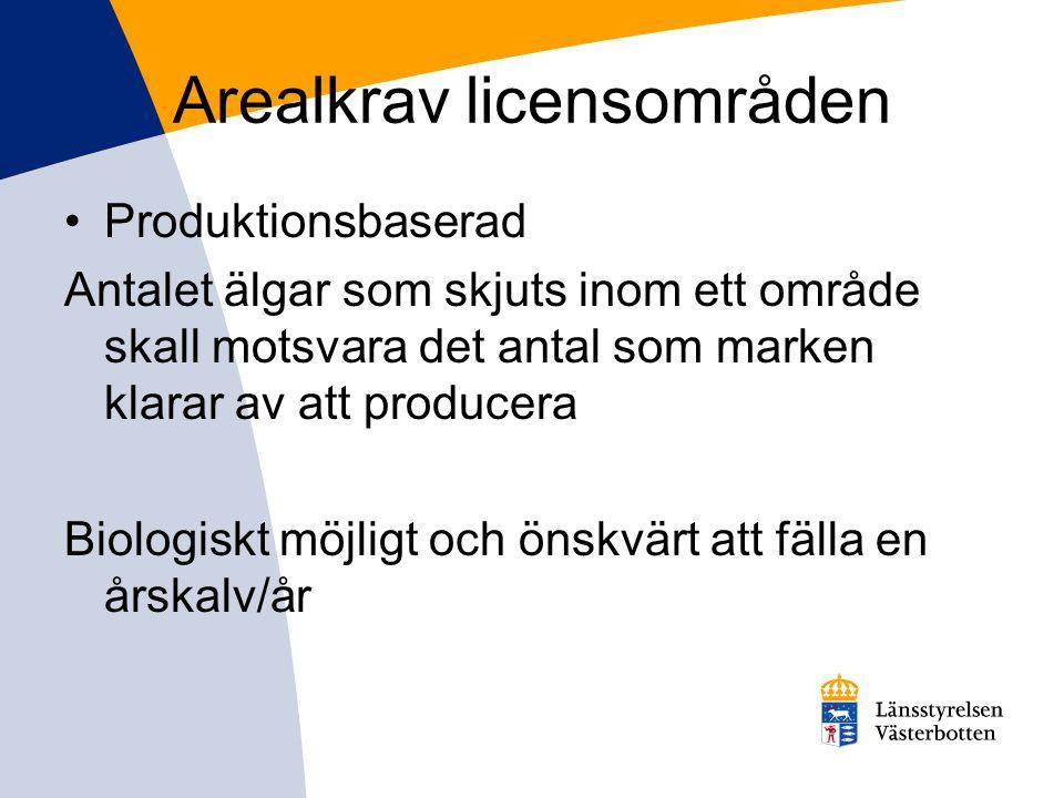 Arealkrav licensområden •Produktionsbaserad Antalet älgar som skjuts inom ett område skall motsvara det antal som marken klarar av att producera Biolo