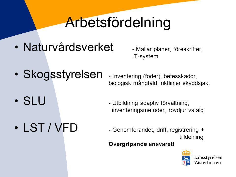 Arbetsfördelning •Naturvårdsverket - Mallar planer, föreskrifter, IT-system •Skogsstyrelsen - Inventering (foder), betesskador, biologisk mångfald, riktlinjer skyddsjakt •SLU - Utbildning adaptiv förvaltning, inventeringsmetoder, rovdjur vs älg •LST / VFD - Genomförandet, drift, registrering + tilldelning Övergripande ansvaret!